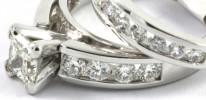 Diamond Wedding Ring Set 1.25ctw 1 Princess Cut Diamond & 18 Round