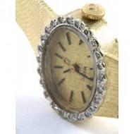 Omega Vintage Wrist Watch for Women 14KT Gold Diamond Bezel