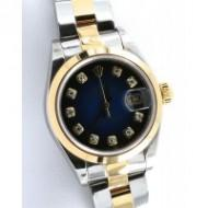 Rolex 79163 Wrist Watches For Women Datejust 2 Tone Oyster 18K Diamond Dial